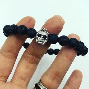 Genuine Lava rock gold plated cz skull bracelet